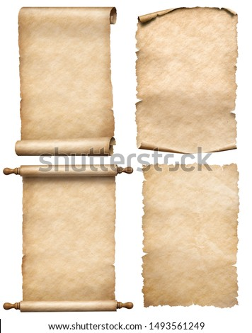 old papers or parchment scrolls set isolated