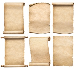 old papers or parchment six scrolls or parchments set isolated
