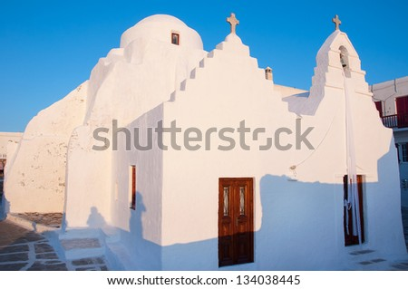 Old Paraportiani 14 century church at sunset the most famous and popular place on the island Mikoneos in Greece