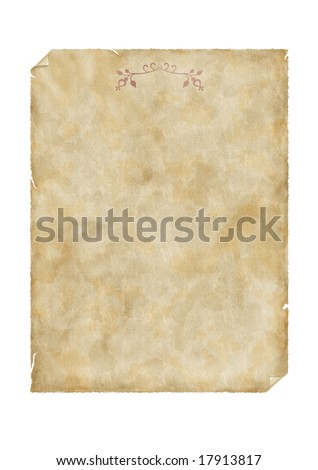 Old parchment decorated with floral ornament