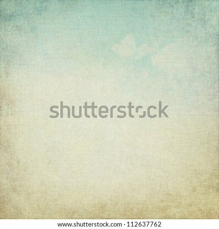 old parchment grunge background with delicate abstract canvas texture and blue sky view - stock photo