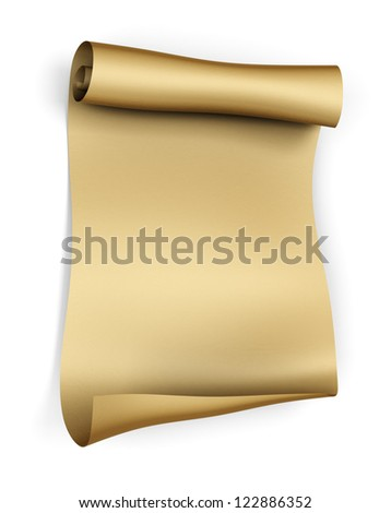 Old parchment paper scroll - isolated on white background
