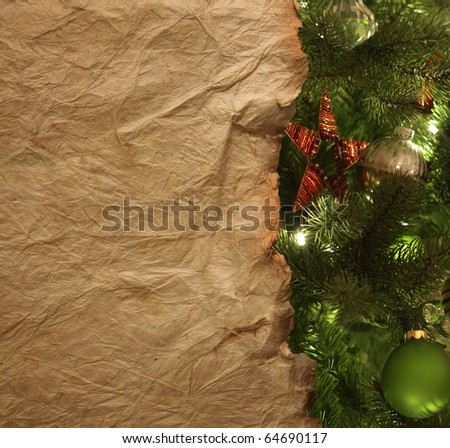 Old parchment paper with christmas background