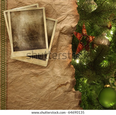 Old parchment paper with christmas background - stock photo