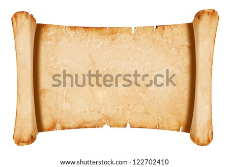 Old parchment paper with shabby edges - isolated on white