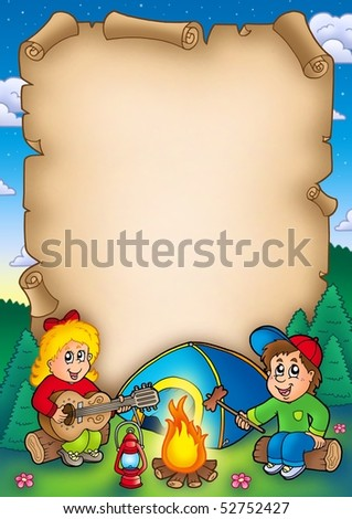 Old parchment with camping kids - color illustration.