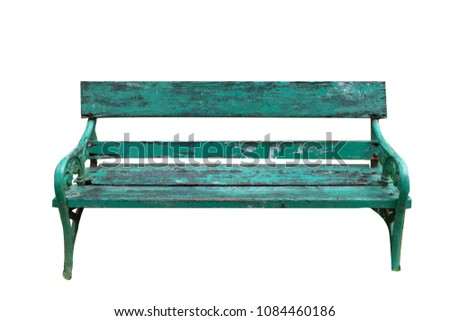 Old Park Bench isolated on white background clipping path , vintage green chair