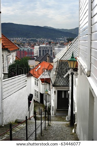 Old part of norwegian city Bergen - Bryggen