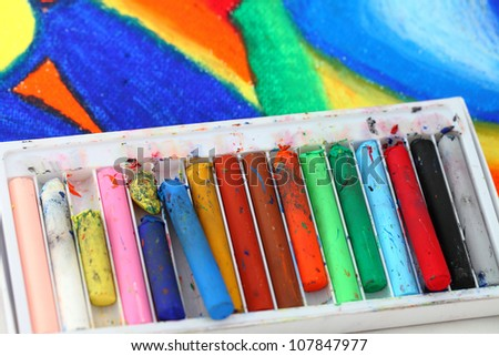 Old pastel  colorful crayons