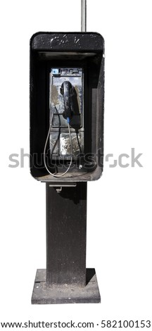 Old payphone booth. Isolated. Vertical.