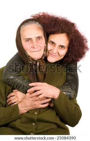 Old peasant woman with her daughter, isolated on white background