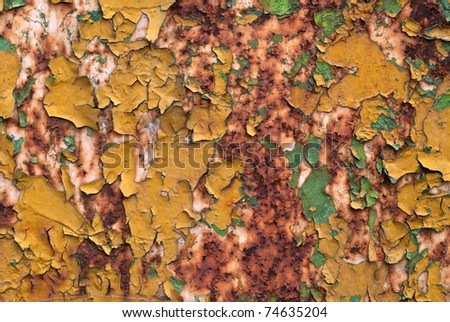 Old peeled random colors paint on rusty metal background