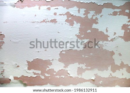 Old peeling paint on a wall or ceiling for stripping and repainting remodel renovation Photo stock ©