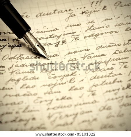 Old pen and letter .Close up photo.