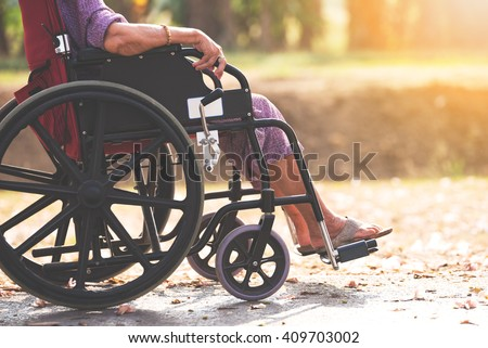 Old people on wheel chair