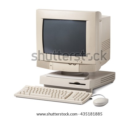 Old personal computer isolated on white background