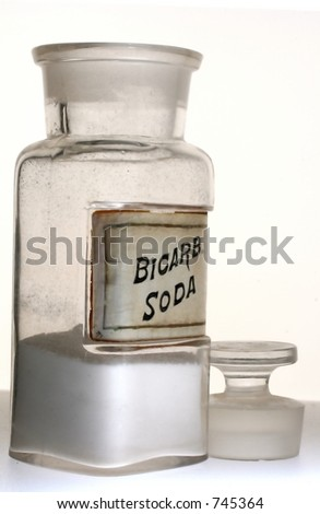Old pharmacy bottle of Bicarb. Soda.