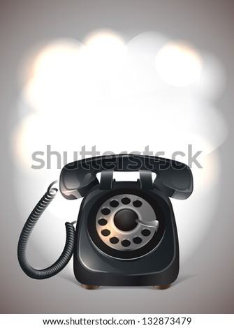 Old phone. Black with frame for your text
