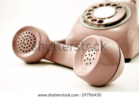 old phone of the hook - stock photo