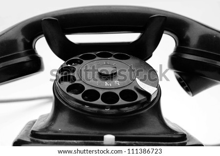 old phone  - Old-fashioned antique phone has a little dirty and worn - stock photo