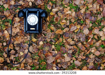 Old phone on autumn leaves