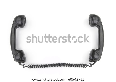 Old phone receiver on white background