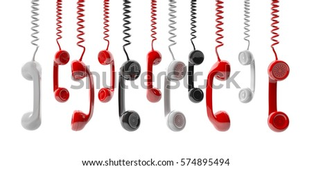 Old phone receivers hanging on white background. 3d illustration