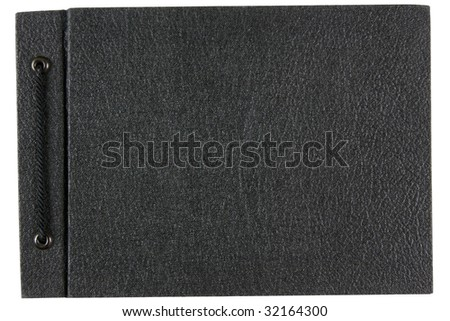 Old photo album, back cover, isolated on white