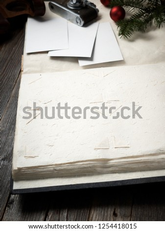 Old Paper Bordering With Christmas Decoration On Wooden