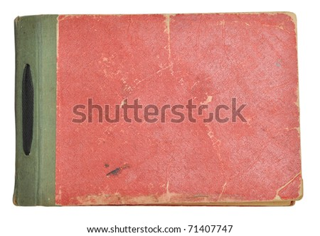 Old photo album with photos isolated on white.
