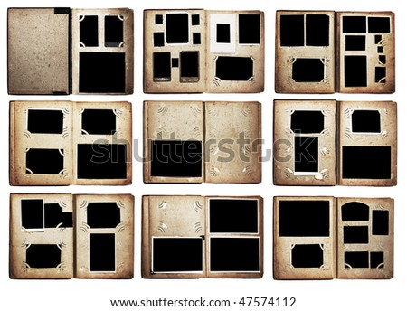 old photo albums set isolated on white background