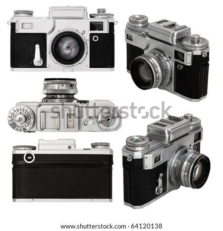old photo camera set isolated on white background with clipping path