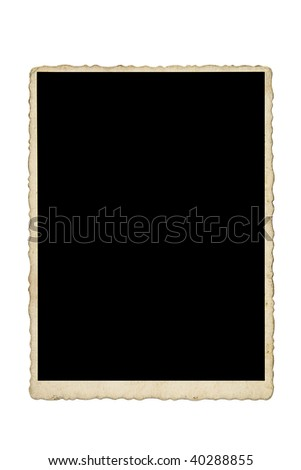 Old photo frame isolated on white