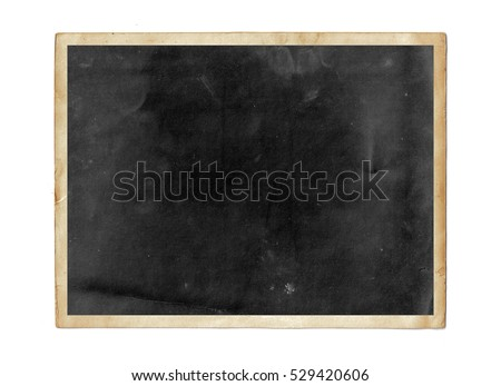 Old photo frame isolated on white. Vintage paper #529420606