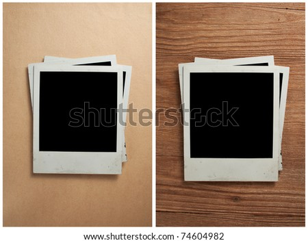 Old photo frames on the old paper and wooden background