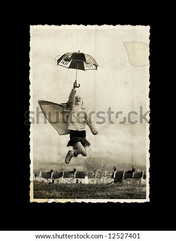 old photo - girl with umbrella