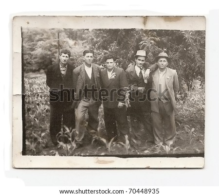 Old photo, group of men at wedding party