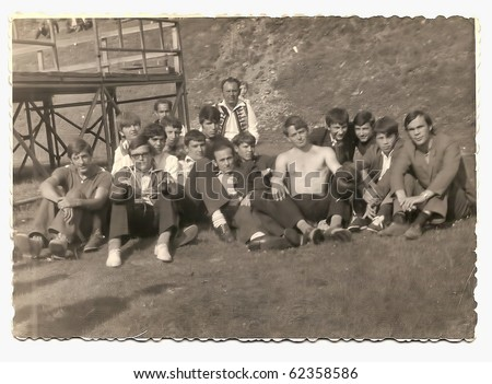 Old photo, group of young boxers posing outdoor