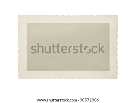 Old photo isolated on white with clipping path for the inside