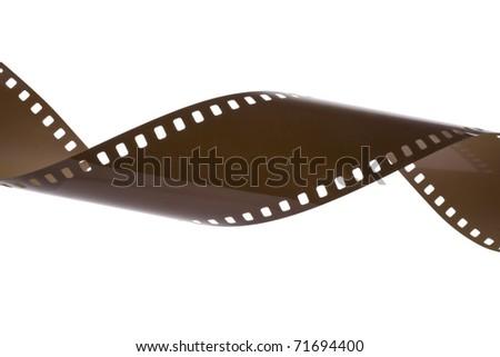 Old  photo negative strip on white background