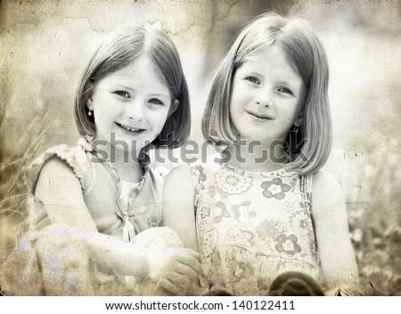 old photo of happy children...