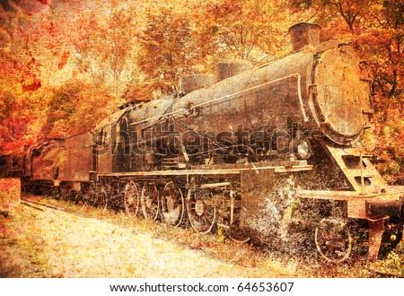 old photo of steam engine, locomotive