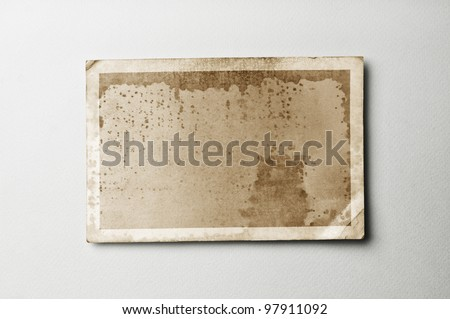 Old photo paper on vintage paper with clipping path for the inside