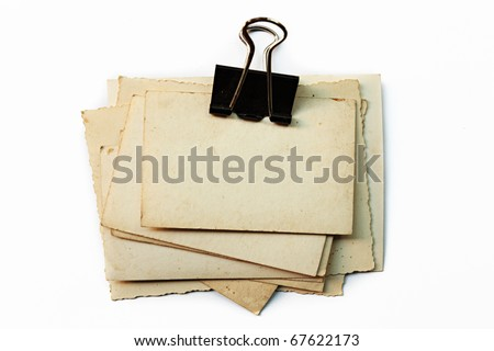 Old Photo Sheet Stack Clip Isolate On White - stock photo