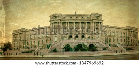 Old photo with panoramic view at facade of the Library of Congress Thomas Jefferson Building, Beaux-Arts architectural style. Vintage processing.