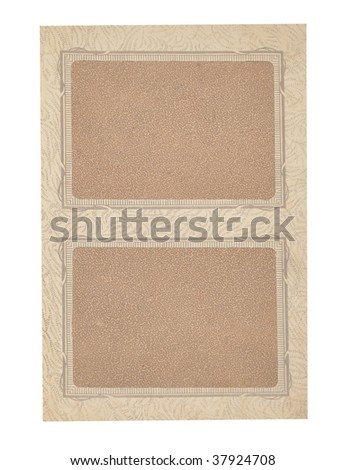 Old photography album paper texture background isolated on white