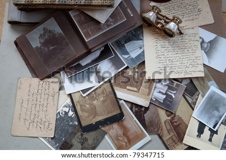 Old photos,albums and letters. - stock photo