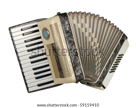 Old piano accordion with artificial nacre texture, isolated over white, with clipping path