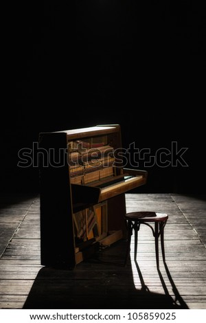 Old piano on the stage