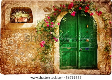 old pictorial greek doors - stock photo